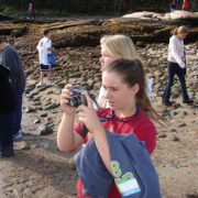Sixth grade students take in the view from Barred Island Preserve.