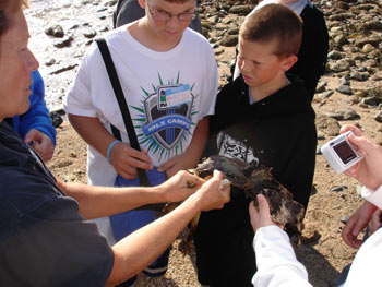 Sixth grade students study kelp with volunteer Lee Fay on a fall trip with their class.